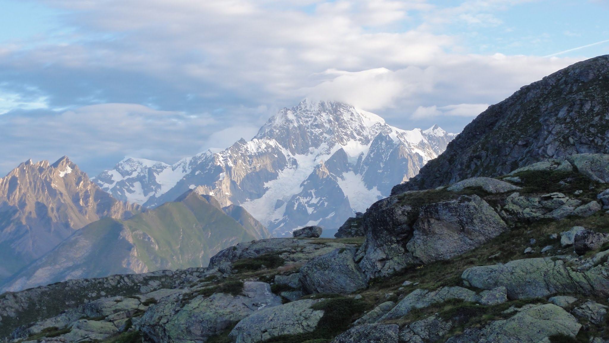South face of Mont Blanc from Deffeyes' hut, Aosta valley, Italia